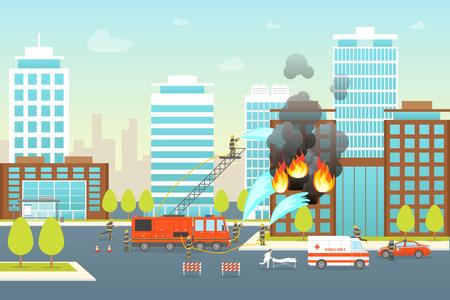 Cartoon Firefighting Composition in City Card Poster Landscape Background Safety and Danger Elements Scene Concept Flat Design. Vector illustration Ilustrace