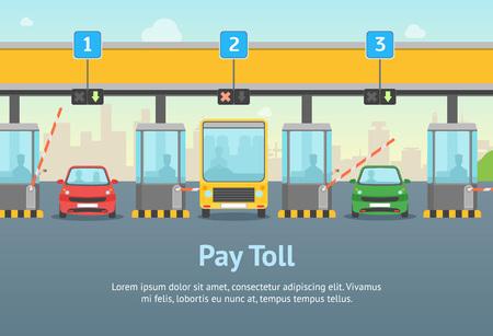 Affiche de carte de péage de route de dessin animé et texte Style de conception plate de concept de transport de trafic routier pour l'annonce. Illustration vectorielle de porte