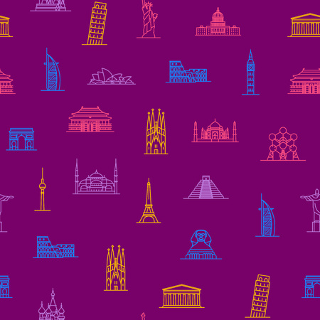 World Landmarks Signs Thin Line Seamless Pattern Background Include of Monument, Tower, Statue, Building and Temple. Vector illustration of Icons