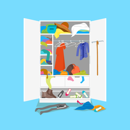 Cartoon Untidy Wardrobe Card Poster on a Blue Background Concept Flat Design Style. Vector illustration of Closet Clothing in Interior Room
