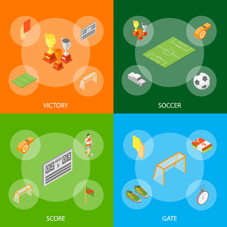 Soccer Sport Game Signs 3d Banner Set Isometric View Include of Flag, Ball, Shoe, Whistle, Champion and Trophy. Vector illustration Иллюстрация