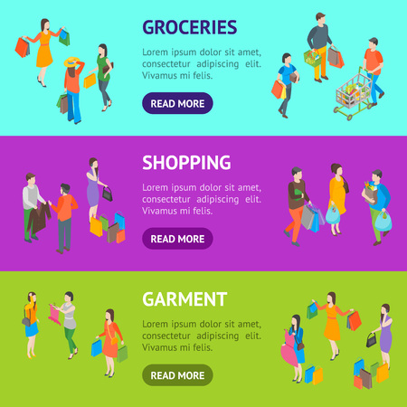 Shopping People 3d Banner Horizontal Set Isometric View Include of Bag, Cart, Clothes, Couple, Gift and Trolley. Vector illustration