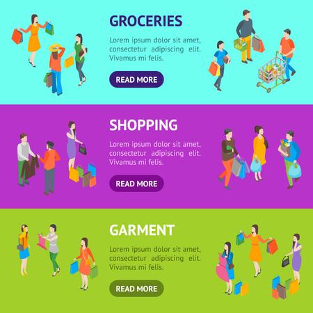 Shopping People 3d Banner Horizontal Set Vue isométrique comprennent un sac, un panier, des vêtements, un couple, un cadeau et un chariot. Illustration vectorielle Vecteurs