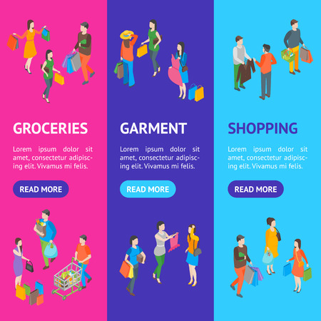 Shopping People 3d Banner Vecrtical Set Isometric View. Vector