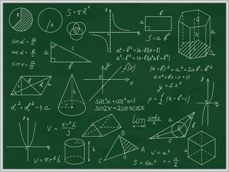 Pizarra verde matemática con inscripciones y formas de líneas finas. Vector Ilustración de vector