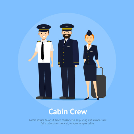 Cartoon Aviation Crew Members Card Poster Professional Concept Element Flat Design Style. Vector illustration Ilustração Vetorial
