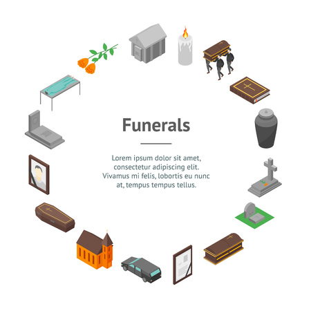 Funeral Signs 3d Set Banner Card Circle Isometric View Include of Candle, Church, Grave, Cross, Tombstone, Coffin and Monument. Vector illustration