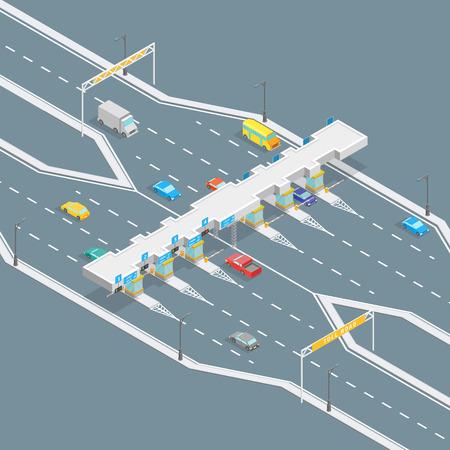 Concept de paiement de route à péage Système d'entrée de porte de paiement à vue isométrique 3d pour la chaussée et l'autoroute sur un gris. Illustration vectorielle
