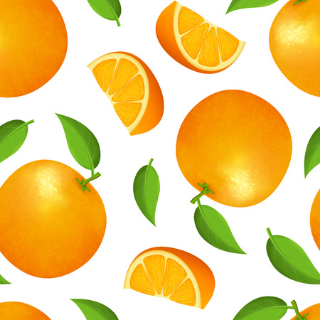 Realistic Detailed 3d Whole Orange with Green Leaf and Slice Vitamin C Seamless Pattern Backgroundon a White. Vector illustration of Ripe Fruit Citrus Vecteurs