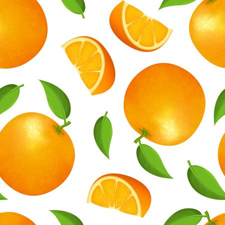 Realistische detaillierte 3d ganze Orange mit grünem Blatt und Slice Vitamin C Seamless Pattern Backgroundon a White. Vektor-Illustration von reifen Früchten Zitrusfrüchte Vektorgrafik