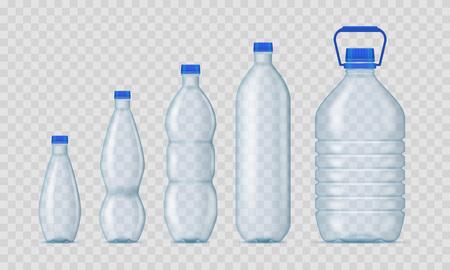 Maquette de modèle vide de bouteilles en plastique vierges 3d réalistes détaillées sur un fond transparent. Illustration vectorielle de la bouteille de maquette Vecteurs