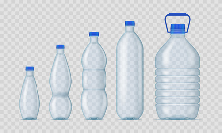 Realistic Detailed 3d Blank Plastic Bottles Empty Template Mockup Set on a Transparent Background. Vector illustration of Mock Up Bottle Vetores