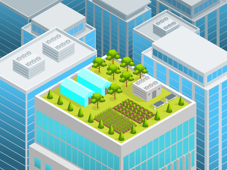 Green Garden on The Roof Concept 3d Isometric View Urban Architecture Elements Landscape Background Scene. Vector illustration
