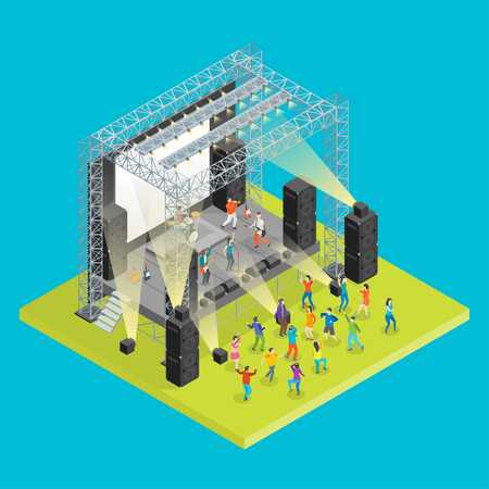 Musik Festival Konzept isometrische 3D-Ansicht Konzert Party Elemente Landschaft Hintergrund und Bühne. Vektorillustration des Musikereignisses