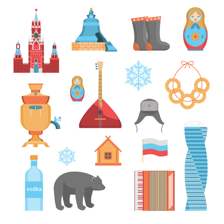 Cartoon Russian Traditional Items Icon Set Concept Flat Design Include of Matryoshka, Balalaika, Samovar, Accordion and Kremlin. Vector illustration of Icons
