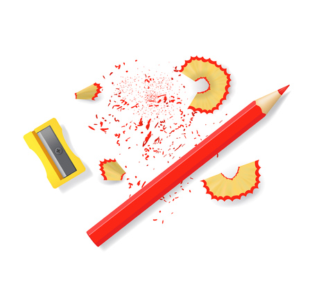 Realistic 3d Detailed Sharpener and Sharp Red Pencil Set for Office and Education at School. Vector illustration