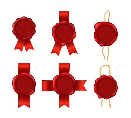 Realistic 3d Detailed Red Wax Seals Rope Ribbons Set Symbol of Quality, Guarantee or Secret. Vector illustration