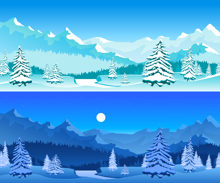 Cartoon Winter Horizontal Banners Card Poster Set Snowy Elements Landscape Background Scene Concept Flat Design. Vector illustration