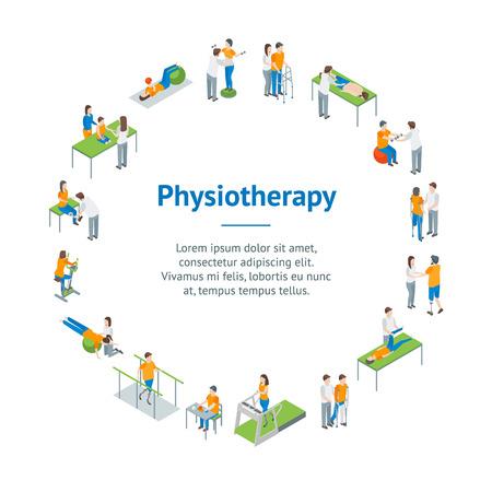 Fizjoterapia osób banner karty koło widok izometryczny 3d obejmują ćwiczenia rehabilitacji terapii, pacjenta, leczenia i lekarza. Ilustracja wektorowa