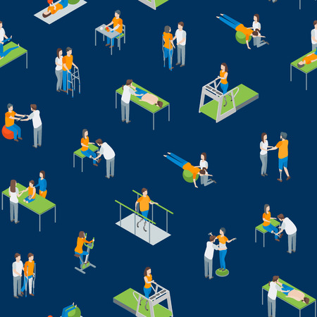 Physiotherapy People Seamless Pattern Background 3d Isometric View Include of Exercise Rehabilitation Therapy, Patient, Treatment and Doctor. Vector illustration