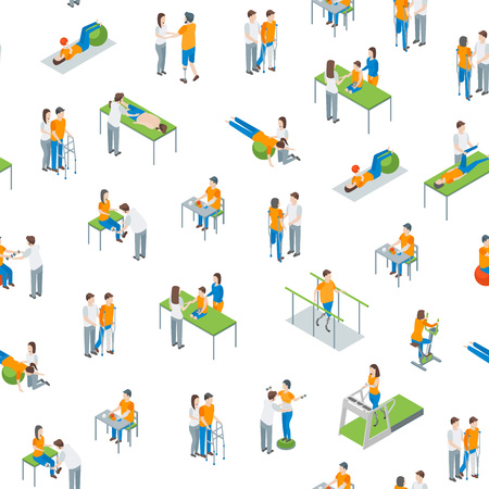Physiotherapy People Seamless Pattern Background on a White 3d Isometric View Include of Exercise Rehabilitation Therapy, Patient, Treatment and Doctor. Vector illustration