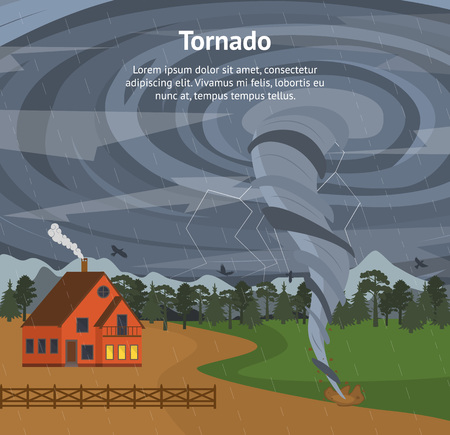 Cartoon House and Tornado Card Poster. Vector