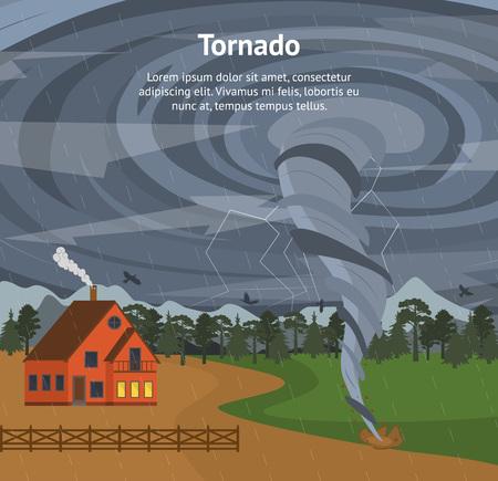 Cartoon House and Tornado Card Poster. Vector