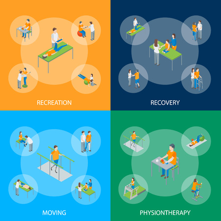 Physiotherapy People Banner Set 3d Isometric View Include of Exercise Rehabilitation Therapy, Patient, Treatment and Doctor. Vector illustration
