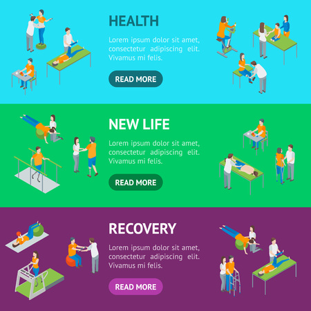 Physiotherapy People Banner Horizontal Set 3d Isometric View Include of Exercise Rehabilitation Therapy, Patient, Treatment and Doctor. Vector illustration