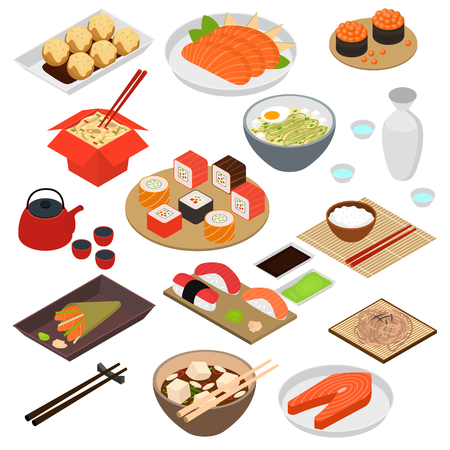 Japanese Food Concept 3d Icon Set Isometric View Include of Rice, Sushi, Roll, Fish, Sashimi and Noodle. Vector illustration of Icons