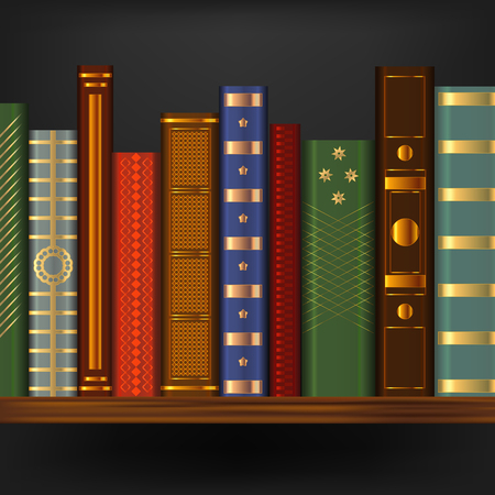 Realistic 3d Detailed Vintage Old Books on Wood Shelf Element Library or Bookcase with Retro Book. Vector illustration Иллюстрация