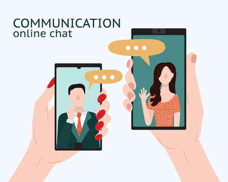 Cartoon People Chating in Messenger Card Poster Social Communication Friendship and Love in Messenger Concept Flat Design. Vector illustration