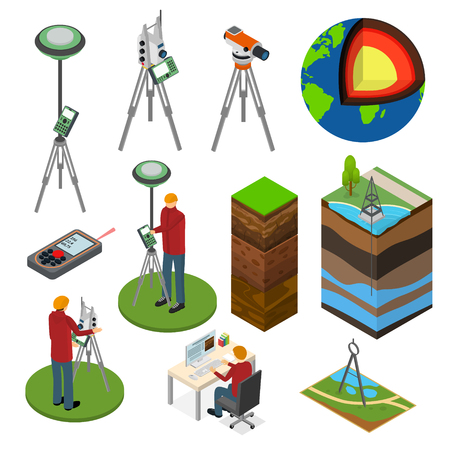 Earth Exploration Sign 3d Icon Set Isometric View Include of Research Instrument, Exploration Ground, Geology Device and Tripod. Vector illustration of Icons Illustration