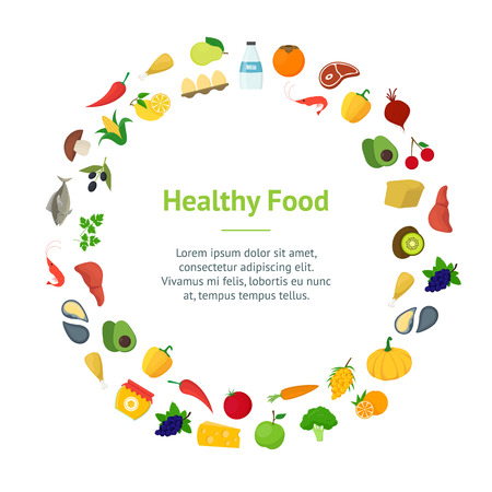 Cartoon Healthy Food Signs Color IBanner Card Circle Concept Flat Design Style Include of Vegetable and Fruit. Vector illustration Vetores