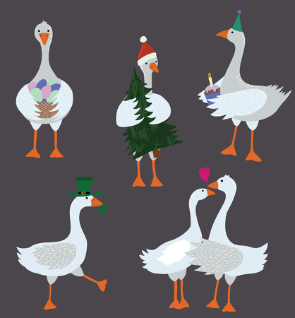 Cartoon Geese with Holiday Accessories Set for Xmas, Valentine and Patrick Day. Vector illustration of Goose and Gander