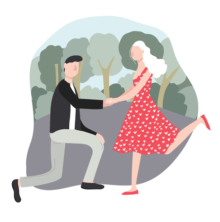 Cartoon Character Man Proposing Woman to Marry in Park Couple Concept Element Flat Design Style. Vector illustration