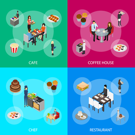 Restaurant Cafe or Bar and People 3d Banner Set Isometric View. Vector illustration of Banners