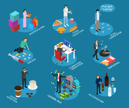 Bad Habits Sign 3d Icon Set Isometric View Include of Drug, Food Addiction, Alcohol and Shopping. Vector illustration of Icons