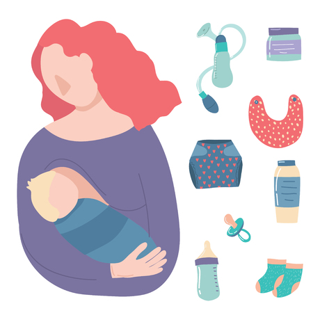 Cartoon Breastfeeding Baby Signs Icon Set Include of Mother, Newborn, Bottle Milk, Bib and Diaper. Vector illustration of Icons