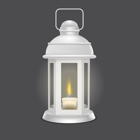 Realistic 3d Detailed Vintage Lantern Glowing in the Dark. Vector Stock fotó - 115688486