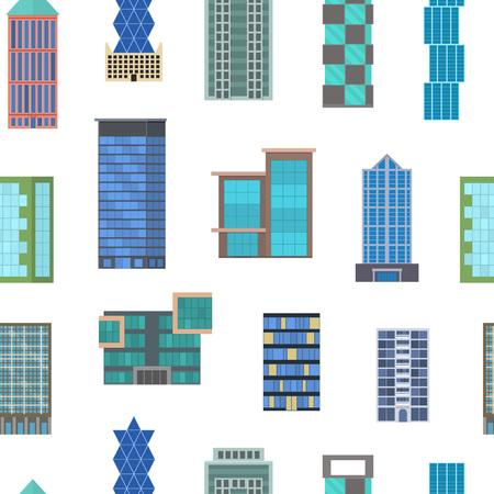 Cartoon edifici segni Seamless Pattern di sfondo su uno stile di design piatto bianco moderno architettura urbana costruzione ufficio o concetto di casa. Illustrazione vettoriale di edificio