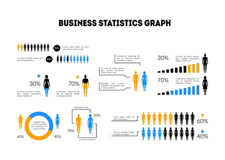 Cartoon Business Statistics Graph Infographic Card Poster with Proportion, Woman, Man and Diagrams. Vector illustration of Presentation Layout