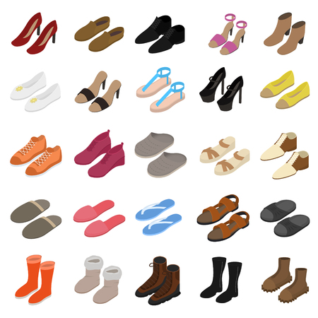 Shoes Sign 3d Icon Set Isometric View Include of Sneaker, Sandal, Slipper, Loafer, Ballet and Moccasin. Vector illustration of Icons