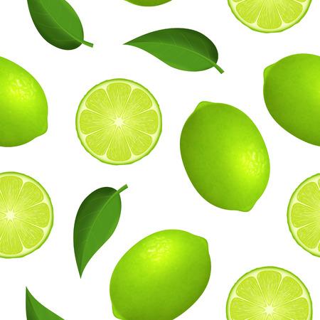 Realistische detaillierte 3d ganze reife grüne Frucht Limette und Slice nahtlose Hintergrundmuster auf einem weißen. Vektor-Illustration von frischen Zitrusfrüchten und Hälfte