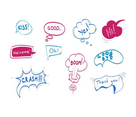 Hand Drawn Comic Speech Bubbles Color Thin Line Icon Set Message and Communication Elements Concept. Vector illustration of Icons