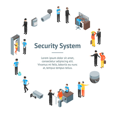 Security System People and Equipment 3d Banner Card Circle Isometric View. Vector