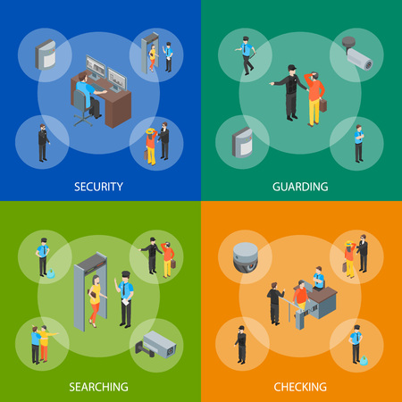 Security System People and Equipment 3d Banner Set Isometric View Include of Alarm and Cctv. Vector illustration of Banners Illustration