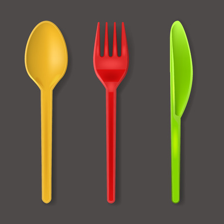 Realistic Detailed 3d Disposable Color Plastic Cutlery Set Include of Spoon, Knife and Fork for Picnic. Vector illustration Vettoriali