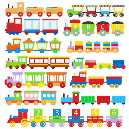 Cartoon Color Train Toy Children Signs Icon Set Different Types Isolated on a White Background. Vector illustration Vetores