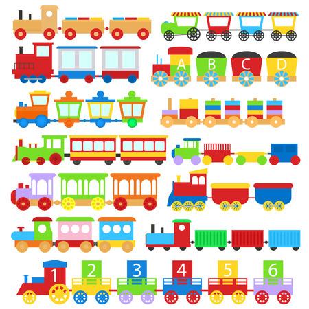 Conjunto de iconos de signos de niños de juguete de tren de color de dibujos animados diferentes tipos aislado sobre un fondo blanco. Ilustración vectorial Ilustración de vector